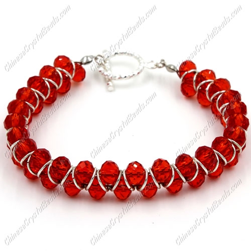 "Crystal Bracelet 6mm rondelle beads red, 8"" length"
