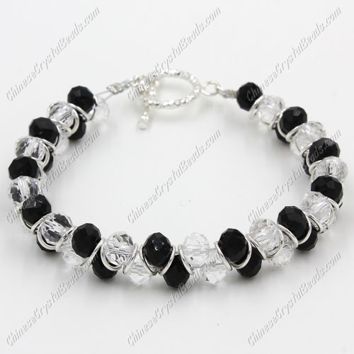 "Crystal Bracelet 6mm rondelle beads black and white, 8"" length"