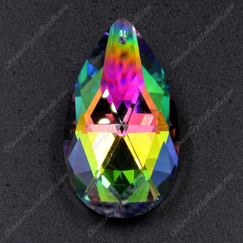 50x28mm Crystal Faceted Teardrop big Pendant, Rainbow Plated, hole: 1.5mm