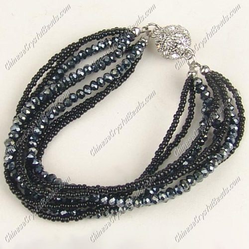 "Black Magnetic Clasps crystal seed beads bracelet kits , 7.5"" length"