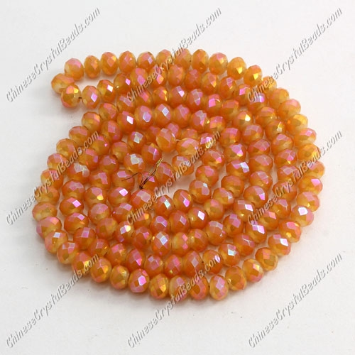 Chinese Crystal Rondelle Bead Strand,opaque orange light, 3x4mm , about 150 beads
