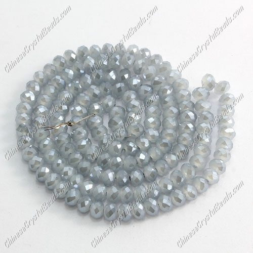 Chinese Crystal Long Rondelle Bead Strand, gray and blue jade, 3X4mm , about 145 beads