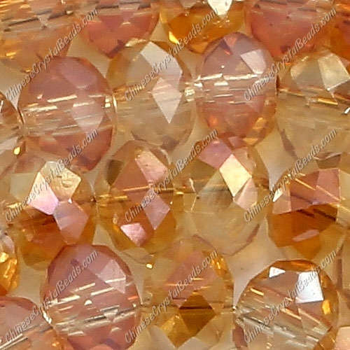 Chinese Crystal Rondelle Bead Strand,opal orange light, 3x4mm , about 150  beads