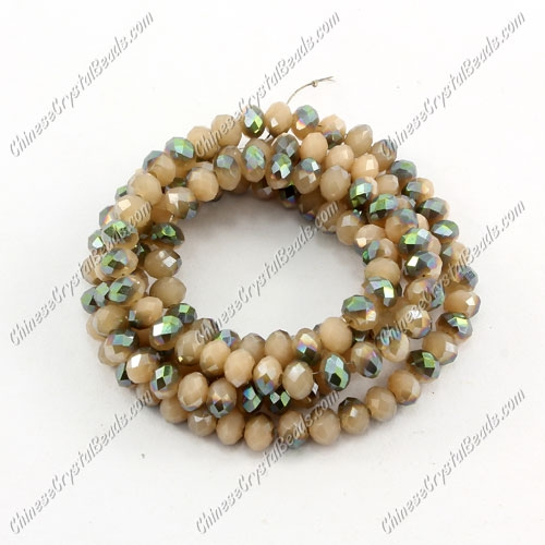 Chinese Crystal Long Rondelle Strand, 3x4mm, opaque #009 , about 150 beads