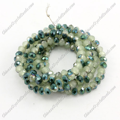 Chinese Crystal Long Rondelle Strand, 3x4mm, green jade and green light , about 150 beads