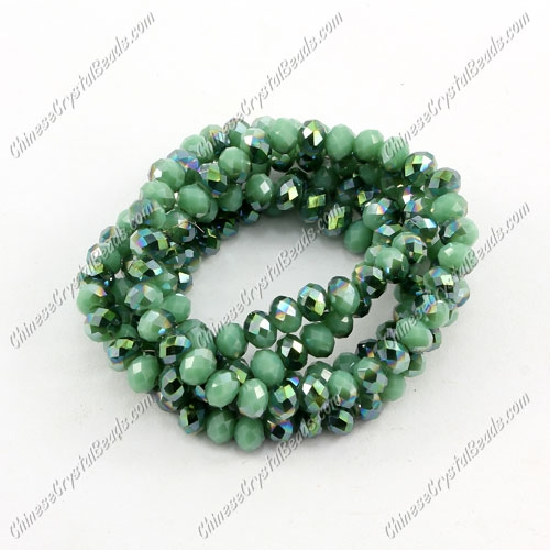 Chinese Crystal Long Rondelle Strand, 3x4mm, opaque green light , about 150 beads