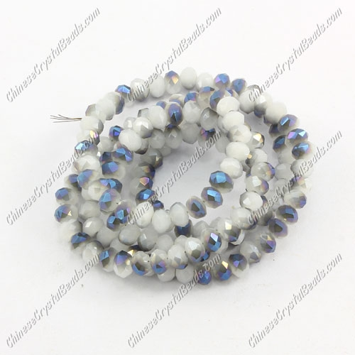 Chinese Crystal Long Rondelle Strand, 3x4mm, opaque white and blue light , about 150 beads