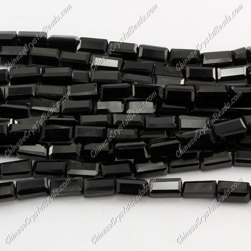 cuboid crystal beads, 4x4x8mm, Jet, 50pcs per strand