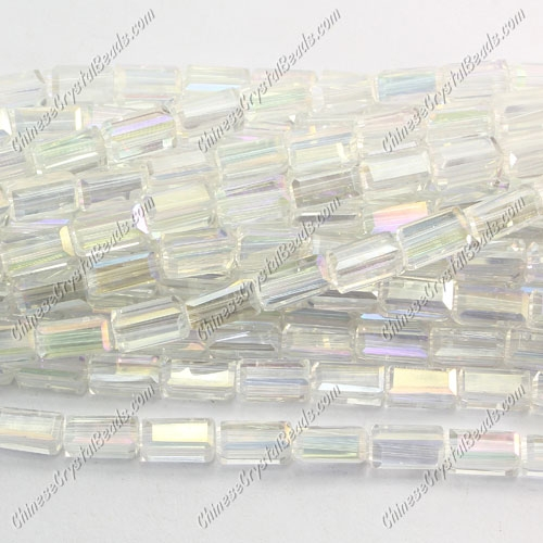 cuboid crystal beads, 4x4x8mm, clear AB, 72pcs per strand