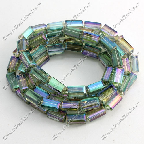 cuboid crystal beads, 4x4x8mm, green light, 72pcs per strand