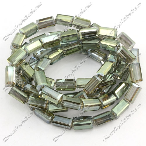 cuboid crystal beads, 4x4x8mm, green lihgt 2, 72pcs per strand