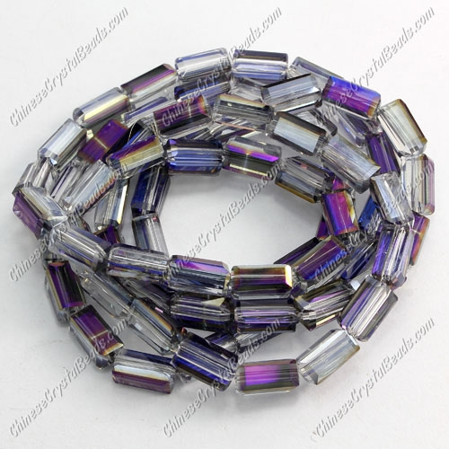 cuboid crystal beads, 4x4x8mm, purple light, 72pcs per strand
