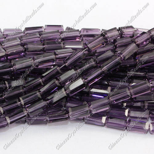 cuboid crystal beads, 4x4x8mm, Violet, about 50pcs per strand