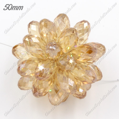 50mm drop beads beaded ball, golden shadow, sold by 1 piece