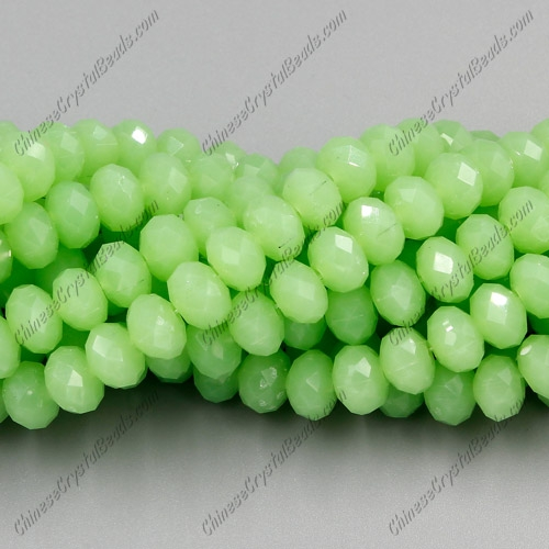 Chinese Crystal Rondelle Strand, green jade, 6x8mm , about 72 beads
