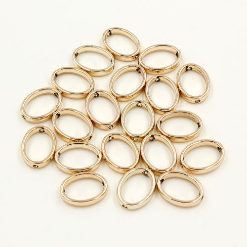 brass spacer beads, champagne gold plated brass, oval shape, 12x15mm, Sold per pkg of 10.