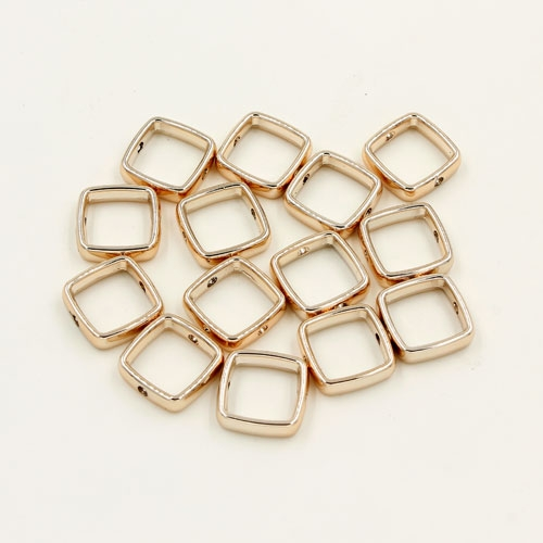 brass spacer beads, champagne gold plated brass, square shape, 13mm, Sold per pkg of 10.