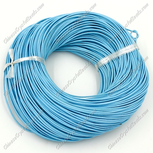 Round Leather Cord, aqua , (1mm, 1.5mm, 2mm)(Sold by the Meter)