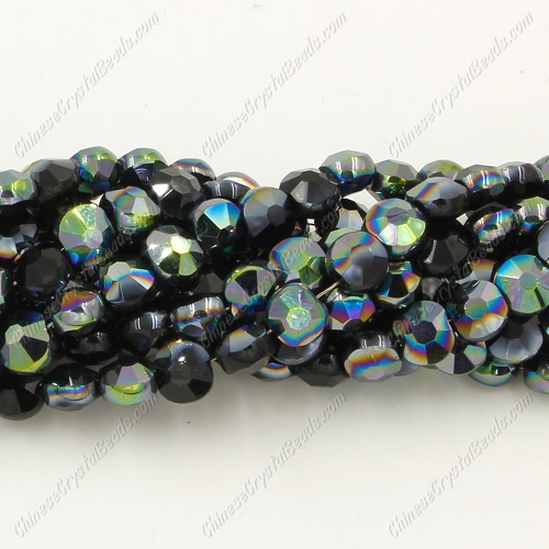 5x6mm Bread crystal beads long strand, black green light, about 100pcs per strand