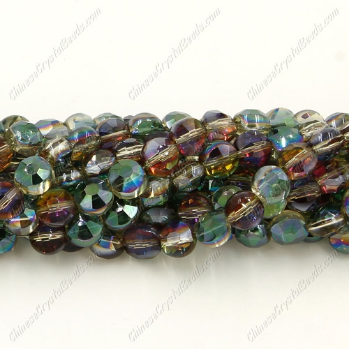 5x6mm Bread crystal beads long strand, dark green and purple light, about 100pcs per strand