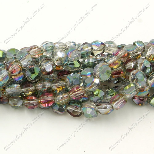 5x6mm Bread crystal beads long strand, green and purple light, about 100pcs per strand