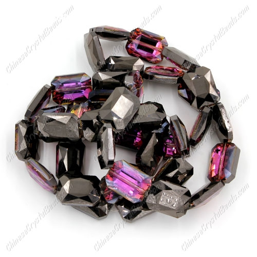 Chinese Crystal Faceted Rectangle Pendant ,hematite and purple light, 13x18mm, 10 beads