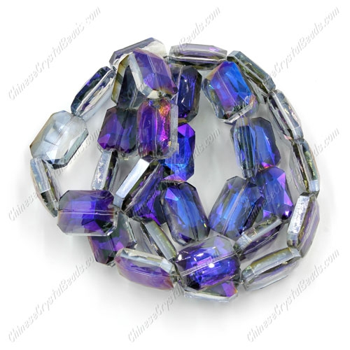 Chinese Crystal Faceted Rectangle Pendant, purple light, 13x18mm, 10 beads