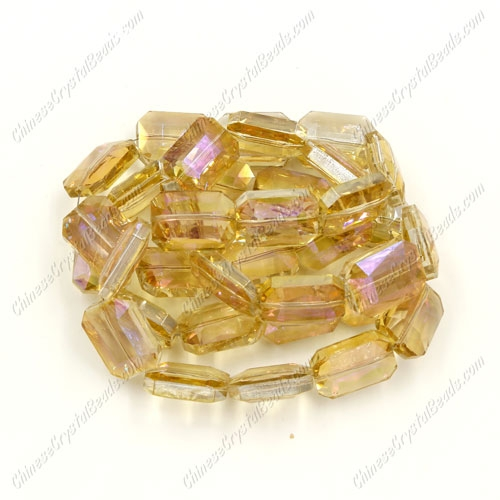 Chinese Crystal Faceted Rectangle Pendant , yellow light, 13x18mm, 10 beads