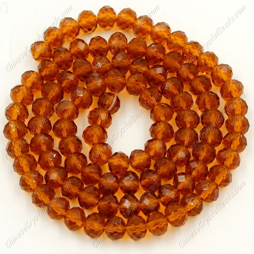 Chinese Crystal Rondelle Strand, Smoked Topaz, 4x6mm,about 100 beads