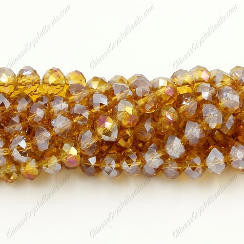 Chinese Crystal Rondelle Strand, amber AB, 6x 8mm, about 72 beads