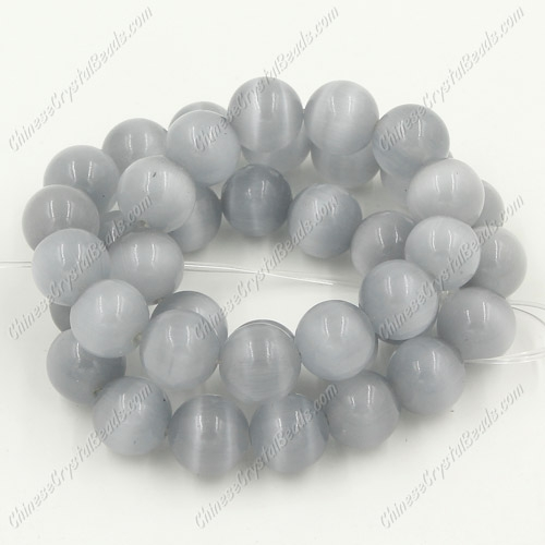 "glass cat eyes beads strand, light gray, about 15"" longer"