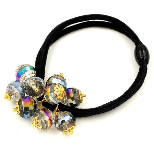 Ponytail holder with crystal beads, Double rubber band, hair tie, elastic hair tie, 1 pc