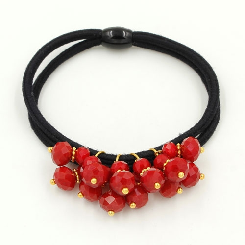 Ponytail holder with red crystal beads, Double rubber band, hair tie, elastic hair tie, 1 pc