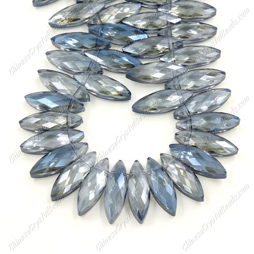 Leaf crystal beads, 7x22mm, Magic Blue, 10 beads