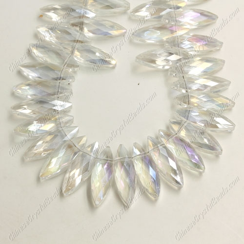 Leaf crystal beads, 7x22mm, clear AB, 10 beads