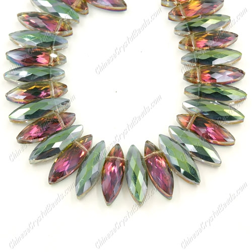 Leaf crystal beads, 7x22mm, green and purple light, 10 beads
