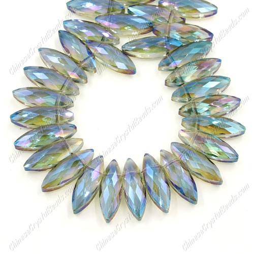 Leaf crystal beads, 7x22mm, green light, 10 beads