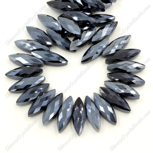 Leaf crystal beads, 7x22mm, gun metal, 10 beads