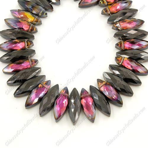 Leaf crystal beads, 7x22mm, hematite and purple light, 10 beads