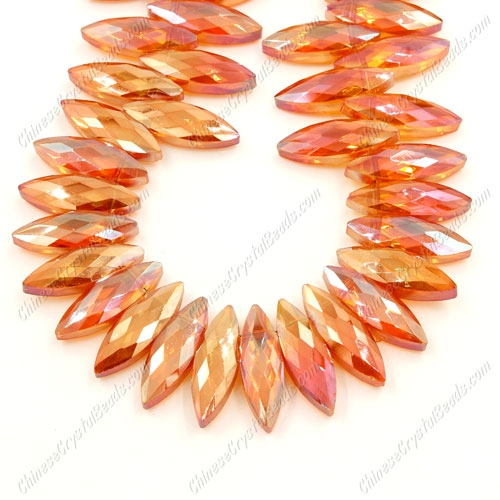 Leaf crystal beads, 7x22mm, orange light, 10 beads