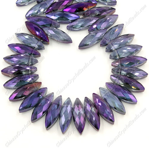 Leaf crystal beads, 7x22mm, purple light, 10 beads