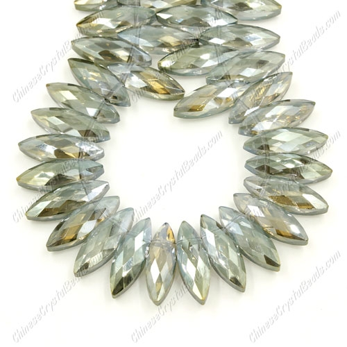 Leaf crystal beads, 7x22mm, yelloe and green light, 10 beads