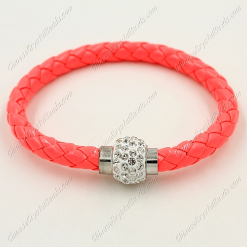12pcs Weave leather bracelet, Magnetic Clasps, Melon Red, wide 7mm, length about 7""