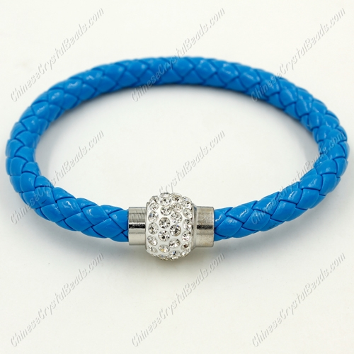 12pcs Weave leather bracelet, Magnetic Clasps, blue, wide 7mm, length about 7""