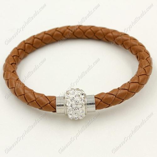 12pcs Weave leather bracelet, Magnetic Clasps, brown, wide 7mm, length about 7""
