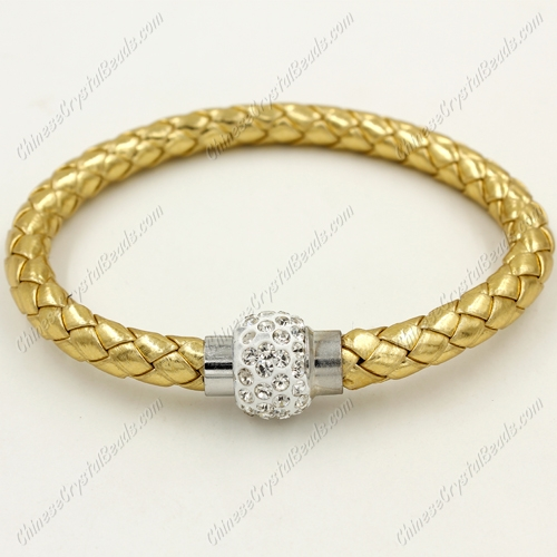 12pcs Weave leather bracelet, Magnetic Clasps, gold, wide 7mm, length about 7""