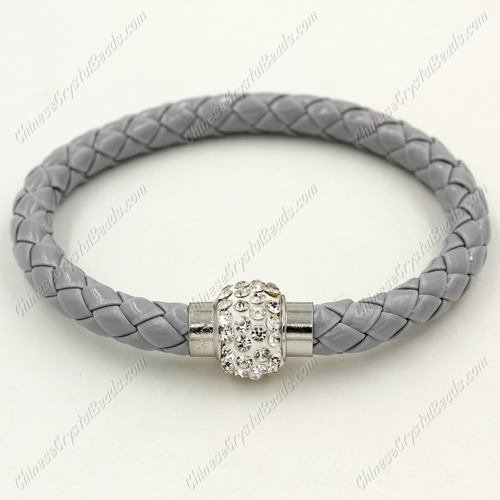 12pcs Weave leather bracelet, Magnetic Clasps, glay, wide 7mm, length about 7""