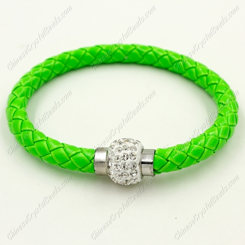12pcs Weave leather bracelet, Magnetic Clasps, green, wide 7mm, length about 7""
