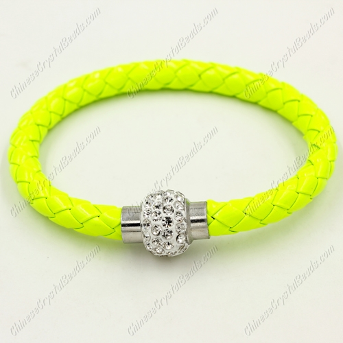 12pcs Weave leather bracelet, Magnetic Clasps, neon green, wide 7mm, length about 7""