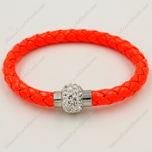 12pcs Weave leather bracelet, Magnetic Clasps, orange, wide 7mm, length about 7""